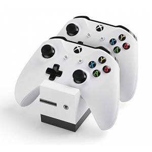 snakebyte Xbox One TWIN:CHARGE X blanc Chargeur/ Cradle pour Xbox One S / Xbox One X / Xbox One Elite Controlle, 2 Batteries rechargeables 800mAh, Charge à double canal, Indicateur de charge LED - Publicité
