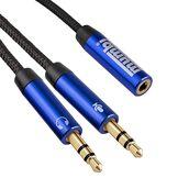 mumbi Câble Adaptateur Casque PC Nylon pour Casque PC, 2x Jack 3,5mm à 3,5mm stéréo Femelle 100cm