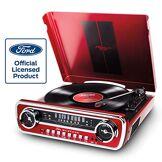ION Audio Mustang LP - Chaîne Hi-Fi Rétro Ford Mustang 4-en-1 avec Platine Vinyle, Radio, Port USB et Prise AUX, ainsi que des Puissantes Enceintes Stéréo Intégrées - Finition Rouge