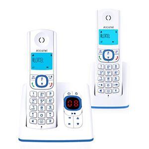 Alcatel F530 Voice Duo Téléphone sans fil DECT aux coloris contemporains, Répondeur intégré, Mains libres, Ecran rétroéclairé, Sonneries VIP, 10 mélodies d'appel Blanc/Bleu - Publicité