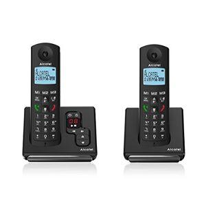 Alcatel F690 Voice Duo Téléphone sans Fil DECT, Répondeur intégré, 3 mémoires directes, Mains Libres de qualité, Grand écran rétroéclairé Ultra lisible, 10 mélodies d'appel, sonneries VIP Noir - Publicité