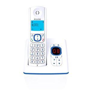 Alcatel F530 Voice Téléphone sans fil DECT aux coloris contemporains, Répondeur intégré, Mains libres, Ecran rétroéclairé, Sonneries VIP, 10 mélodies d'appel Blanc/Bleu - Publicité