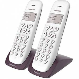 Logicom Telephone fixe sans fil Téléphone fixe sans fil sans Répondeur Duo Téléphones analogiques et dect  VEGA 250 Téléphone Fixe sans Fil Aubergine - Publicité