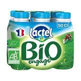 Lactel Lait Bio Engagé Demi-Écrémé Set de 6 Bouteilles 50 cl 3,1 Kg
