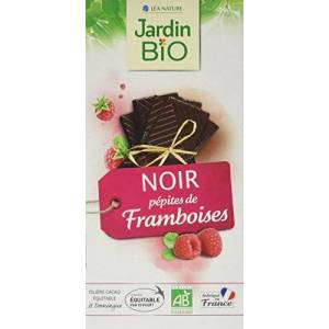 Jardin Bio Chocolat Noir Pépites de Framboises 100 g Lot de 5 - Publicité