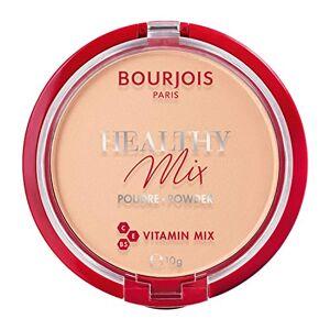 Bourjois Poudre compacte Healthy Mix Zero Signes de fatigue, formule opaque et uniforme avec vitamines A, E et B5, 002 Light Beige, 11 g - Publicité