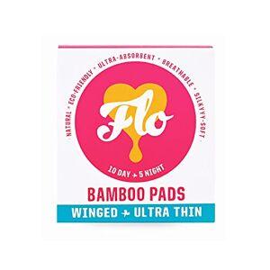 FLO Lot de 15 serviettes en bambou bio pour femme, biodégradables, sans plastique, ultra fines avec ailes, 10 serviettes jour et 5 serviettes nuit - Publicité