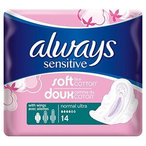 Always toujours doux et ajustement Serviettes hygiéniques, normales avec ailes, 14Serviettes - Publicité