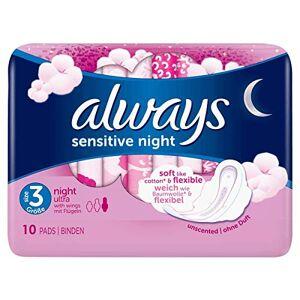 Always Sensitive Night Serviettes hygiéniques avec ailes Lot de 10 - Publicité