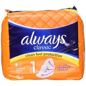 Always Alcn10 Lot de 10 serviettes hygiéniques classiques avec ailes normales - Publicité
