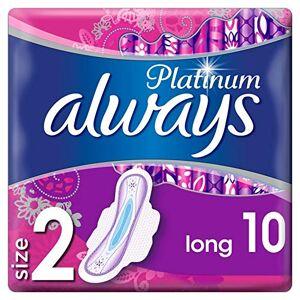 Always Platinum Long Serviettes Hygiéniques avec Ailettes Taille2 10 Unité - Publicité