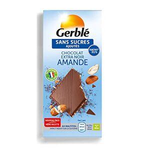 Gerblé Sans Sucres Ajoutés, Tablette de Chocolat Noir Amandes, Source de fibres, 80 g, 200938 - Publicité