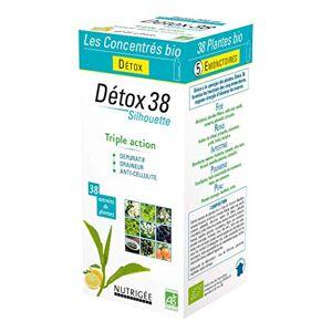 Nutrigée Boisson concentrée bio  Détox 38  38 plantes  Silhouette  Triple Action : Dépuratif Draineur Anti-cellulite  Goût citron  Fabriqué en France - Publicité