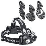 LiteXpress Set lampe frontale LED avec casque, plastique, noir, 6,3x 3,3x 4,8cm, 2unités