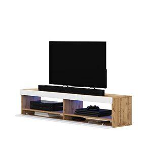Selsey Meuble TV, Eiche Matt/Wei Hochglanz, 100 x 40 x 40 - Publicité