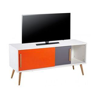 ACTUAL DIFFUSION Meuble TV Blanc Vintage Orange et Gris, Chne, 40x120x55 cm - Publicité