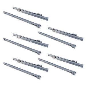 Emuca Coulisses pour tiror de 350mm avec Sortie partielle en Couleur Gris métallisé, Lot de 5 glissières de tiroir - Publicité