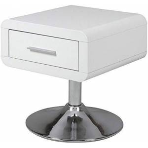 Movian Marque Amazon  Emme Table de chevet, 40x40x45cm (longueurxlargeurxhauteur), Blanc brillant - Publicité