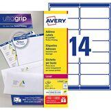 Avery L7163 Boîte de 1400 Etiquettes Autocollantes (14 par Feuille) - 99,1x38,1mm - Impression Laser - Blanc