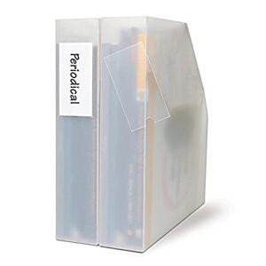 3L Fr 10320- Sachet de 12 Porte-étiquettes adhésives, 35 x 75 mm, étiquettes classeurs, corbeilles  courrier, tiroirs, étagres, Inclus étiquettes blanches - Publicité