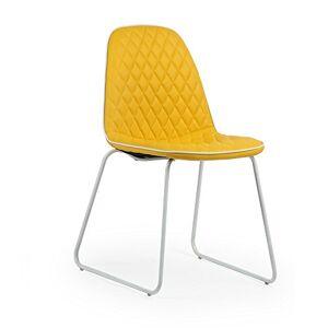 Italian Concept 110 Brenda Lot de 4 chaises en métal Tubulaire, polyuréthane, Cuir synthétique, Jaune, 45,5 x 55 x 83 cm - Publicité