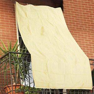 BAKAJI 2832433 Bche Pare-Soleil en polyéthylne  Haute densité résistant aux UV 90% pour Balcon et véranda avec Anneaux de Fixation Beige 140 x 300 cm - Publicité