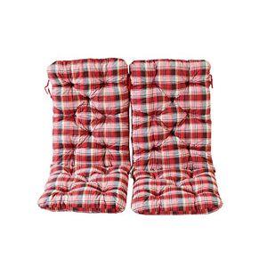 Ambientehome Lot de 2 Coussins a carreux Haut Dossier HANKO Maxi pour Fauteuil de Jardin, Coton, ca. 120 x 50 x 8 cm, Ton Rouge, 120x50x8 cm - Publicité