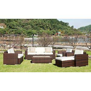 Au jardin de Chloé Salon de Jardin en résine tressée Plate, Thais Marron 8 Places - Publicité