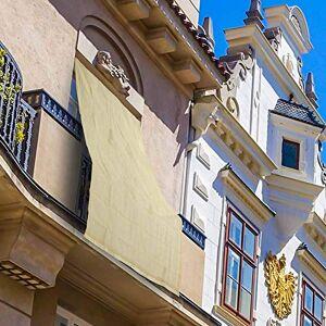 BAKAJI 2832419 Hdpe Pare-Soleil résistant aux UV 90% pour Balcon et véranda avec Anneaux Beige 200 x 295 cm - Publicité