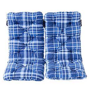 Ambientehome Ambient home Lot de 2 Coussins  carreaux HANKO MAXI Bleu 120 x 50 x 8 cm 90637 - Publicité