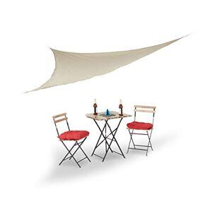 Relaxdays Voile d'ombrage triangle beige léger avec tendeurs résistant aux UV jardin terrasse balcon intérieur HxlxP: 3,5 x 3,5 x 3,5 m, beige - Publicité