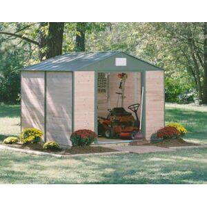 Chalet et jardin ABRICEDRE 108  Abri de Jardin en Métal et Bois de Cdre   Bois Naturel et Vert 307 x 247 x 233 cm - Publicité
