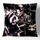 ART Big Box Art 1x Housse de coussin décoratif avec des appareils photo rétro vintage Motif art   doux Couvre-lit Taie d'oreiller pour canapé, fauteuil ou lit avec doublure intérieure Pad, Blanc, 43,2x 43,2cm