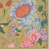 Caspari Paquet DE 20 Serviettes Cocktail Chinese Silk, Tissu, Multicolore, 12,5x12,5x0,02 cm