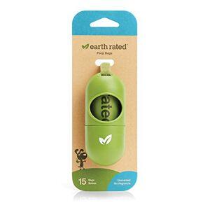 Earth Rated Distributeur pour Laisse, 15 Sacs  Dechets pour Chiens, Biodégradables et Non Parfumés - Publicité