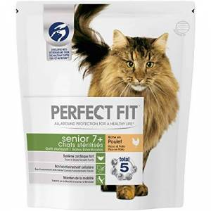 PERFECT FIT Senior7+ Croquettes pour chat senior stérilisé, riche en poulet, 4 sacs de 1,4kg - Publicité
