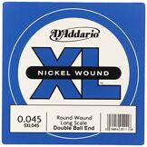 D'Addario Corde seule en nickel pour basse D'Addario SXL045, extrémités à boule, corde longue, .045