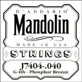 D'Addario Corde seule en bronze phosphoreux pour mandoline D'Addario J7404, quatrième corde, .040