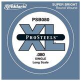 D'Addario Corde seule pour basse D'Addario ProSteels PSB080SL, corde extra-longue, .080