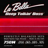 La Bella Labella 750N Jeu de Cordes en nylon pour Basse 50/105 Flat Wound Noir
