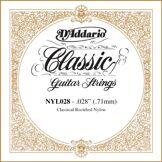 D'Addario Corde seule en nylon pour guitare classique rectifiée D'Addario NYL028, .028