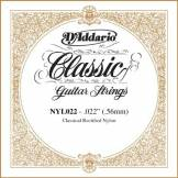 D'Addario Corde seule en nylon pour guitare classique rectifiée D'Addario NYL022, .022