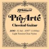 D'Addario Corde seule en nylon pour guitare classique D'Addario Pro-Arte J4303, Light, troisième corde