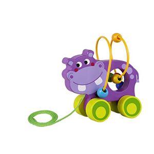 Tooky Toy Jouet  tirer Hippopotame en bois, TKE007, Multicolore - Publicité