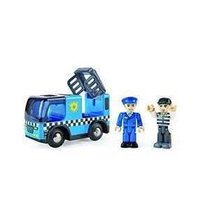 Hape E3738 Voiture de Police avec sirne, Personnage et véhicule, Monde des chemins de Fer, Bleu - Publicité