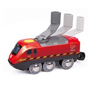 Hape --E3761-Circuit Bois manivelle Crank Powered Train Circuits de Voitures, E3761, Multicolore - Publicité