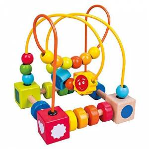 bino mertens Mertens Nud de motricité pour enfants  partir de 1,5 ans (jouet de motricité, labyrinthe avec perles, favorise la motricité fine et la concentration, jouet en bois avec nettoyage facile) Multicolore - Publicité