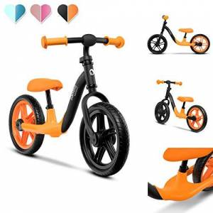 Lionelo Alex Velo Enfant vélo d'équilibre jusqu' 30 kg Grandes possibilités de réglage Roues en Mousse EVA légre Construction Durable Plaquettes antidérapantes (Orange) - Publicité