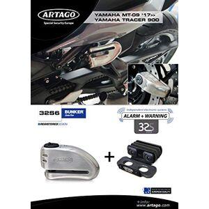 Artago 32s6Cadenas antivol Disque avec Alarme 120dB Haute Gamme et Support pour Yamaha mt-09et Tracer 900, Fermeture s.a.a, homologué SRA, Bunker Selection, Acier Inoxydable - Publicité