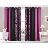 CUSHIONMANIA HBS Rideaux à œillets entièrement doublés Haute qualité 125g/m² Tissu brossé 3Tons Damas Violet (167,6cm de Large X90Drop Paire)